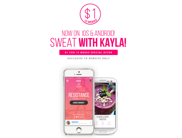 Kayla Itsines trennikava, äpp, app, android, iphone